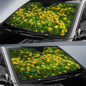 Auto Sun Shade - Irish Spring Meadow of Lesser Celandine in County Galway