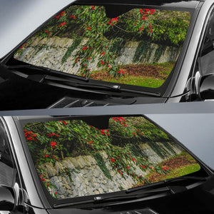 Auto Sun Shade - Irish Spring Cottoneaster and Stone Wall in County Clare