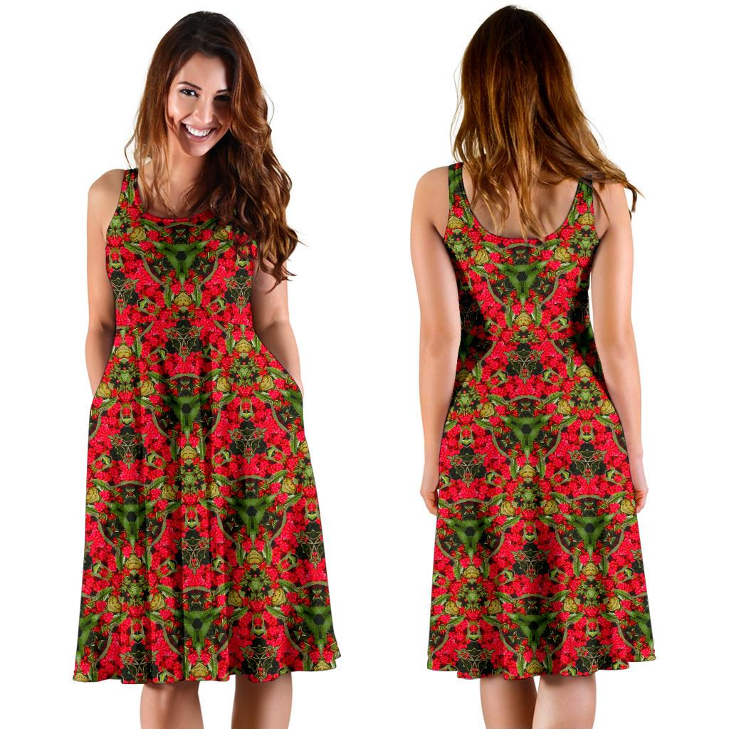 Midi Dress - Red Spring Cottoneaster Midi Dress Moods of Ireland