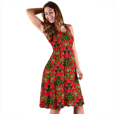 Image of Midi Dress - Red Spring Cottoneaster Midi Dress Moods of Ireland