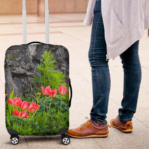 Luggage Cover - County Galway Spring Tulips and Stone Wall Luggage Cover Moods of Ireland