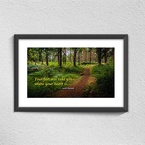 "Image of ""Your Feet Will Take You Where Your Heart Is"" Irish Proverb Poster Poster Moods of Ireland"