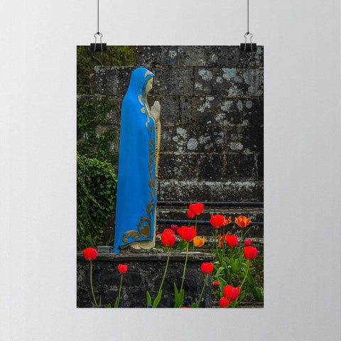 Image of Virgin Mary at Ireland's Quin Abbey, Irish Poster
