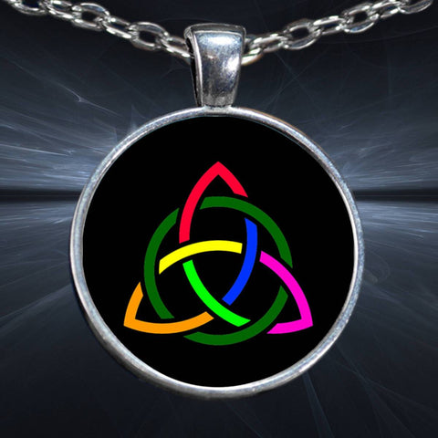 Rainbow Triquetra Knot Celtic Pendant Necklace, Silver-Plated Pendant-Necklace Moods of Ireland