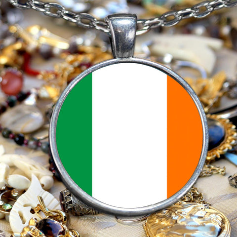 Irish Flag Silver-Plated Pendant Necklace Pendant Necklace Moods of Ireland