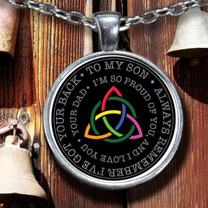 From Dad to Son Irish Rainbow Triquetra Silver-Plated Pendant Pendant Necklace Moods of Ireland