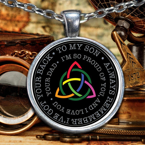 Image of From Dad to Son Irish Rainbow Triquetra Silver-Plated Pendant Pendant Necklace Moods of Ireland
