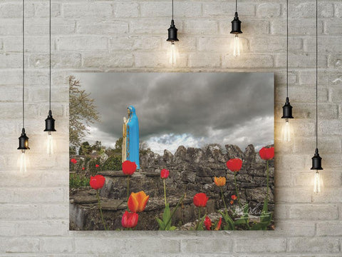 Image of Tulips around Virgin Mary, Ireland, Catholic Art Poster Poster Moods of Ireland