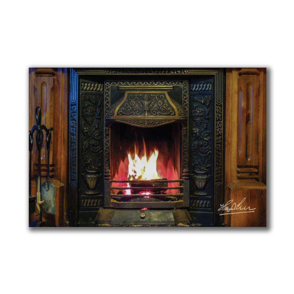 Irish Turf Fire in Fireplace Poster Print