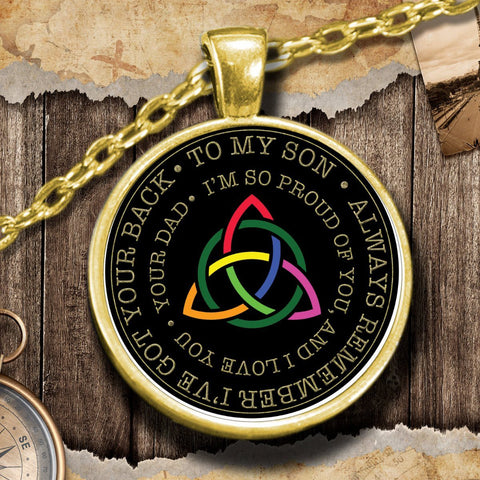 Gift for Son Rainbow Triquetra Gold-Plated Pendant Necklace Pendant Necklace Moods of Ireland