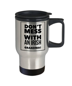 Funny Irish Gift Don't Mess with an Irish Grandma Travel Mug Stainless Steel - James A. Truett - Moods of Ireland - Irish Art