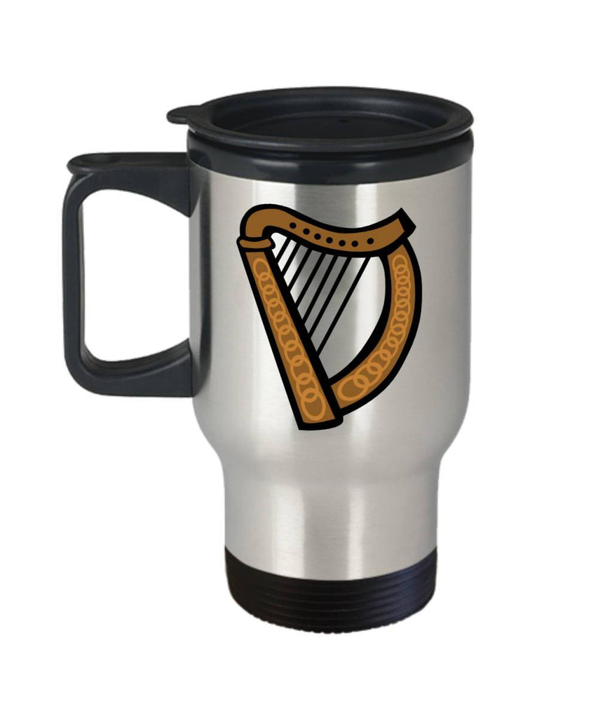 Irish Gift  Celtic Harp  Travel Mug  Stainless Steel