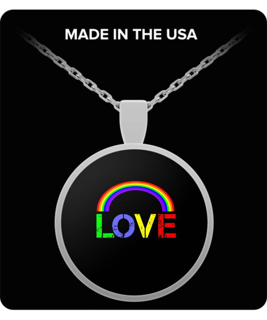LGBT Gift  Love  Rainbow  Silver-Plated  Pendant  Necklace