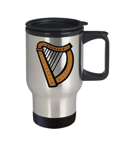 Image of Irish Gift  Celtic Harp  Travel Mug  Stainless Steel