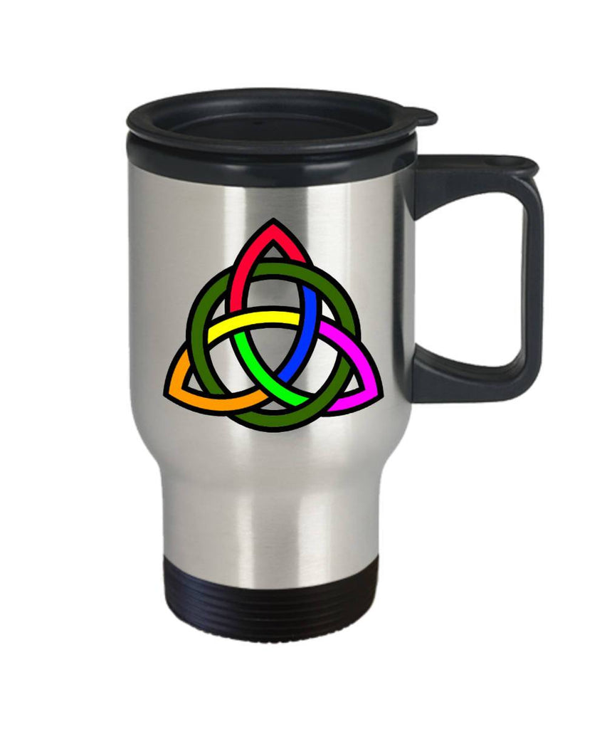 Rainbow Triquetra, Celtic Gift, Travel Mug, Stainless Steel