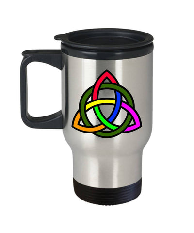 Image of Rainbow Triquetra, Celtic Gift, Travel Mug, Stainless Steel - James A. Truett - Moods of Ireland - Irish Art
