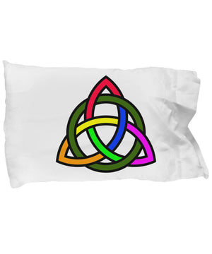 Rainbow Triquetra Pillow Case pillowcase Moods of Ireland