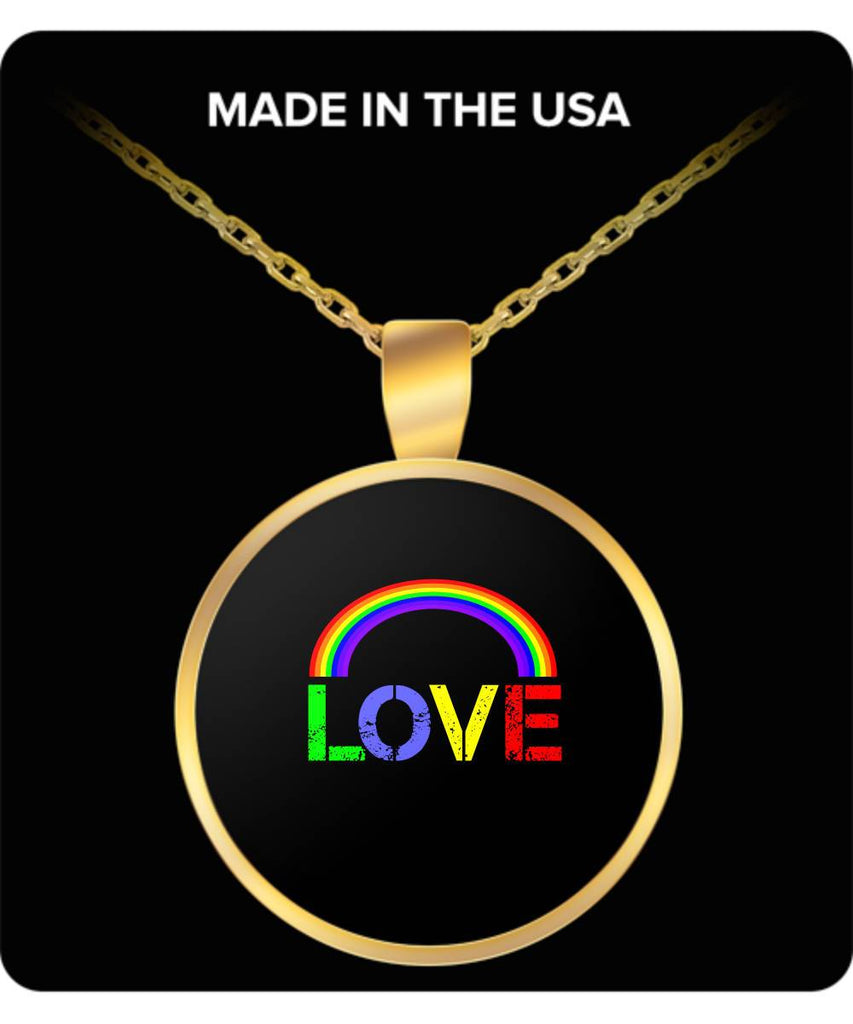 Love Gold-Plated Round Pendant Necklace, LGBT Gift