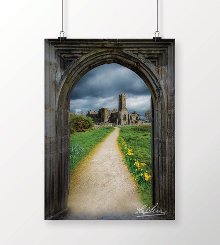 Path to Quin Abbey, County Clare, Ireland, Irish Poster Poster Moods of Ireland