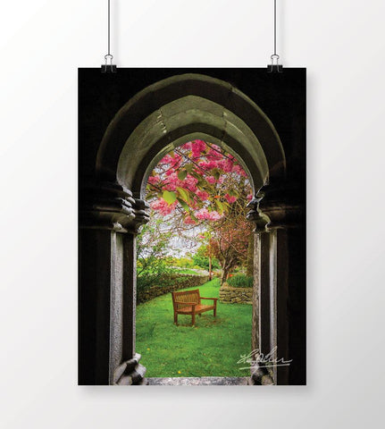 Medieval Abbey in Irish Spring, Irish Poster Poster Moods of Ireland