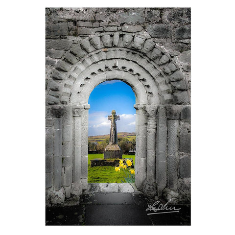 Medieval Arch and High Cross, County Clare, Ireland, Irish Poster Poster Moods of Ireland