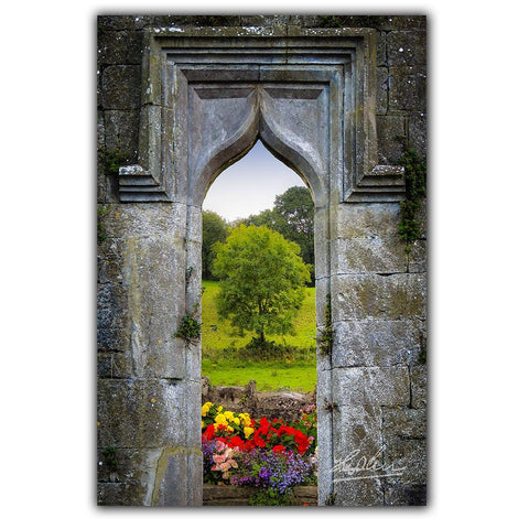Image of Irish Summer through Kildysart Church Ruins, Irish Poster Poster Moods of Ireland