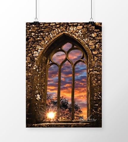 Summer Sunrise at Clare Abbey, Ireland, Irish Inspirational Art Poster Moods of Ireland