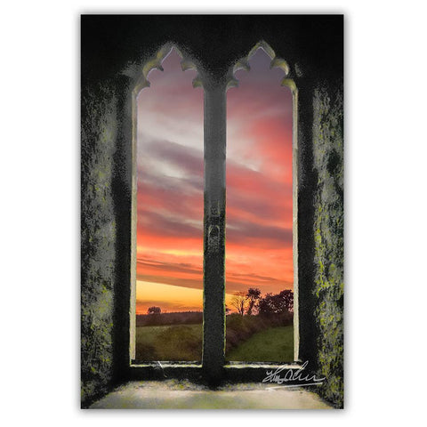 Sunrise at Medieval Clare Abbey, Irish Art Poster