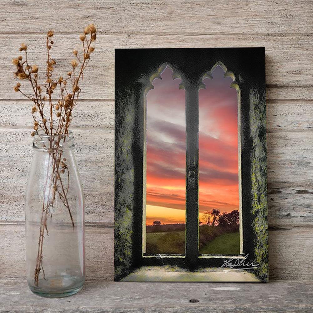 Sunrise at Medieval Clare Abbey, Irish Art Poster Poster Moods of Ireland
