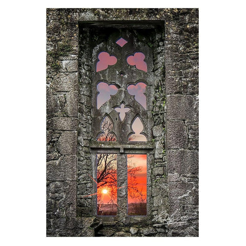 Clare Abbey Window at Sunrise, Irish Decor Poster