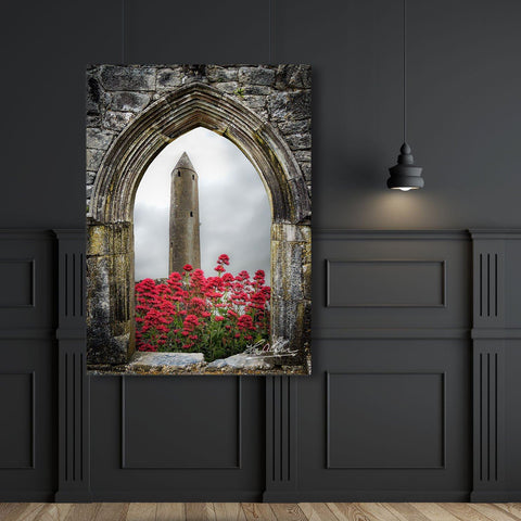 Kilmacduagh Tower in Summer, Irish Wall Art Poster Moods of Ireland