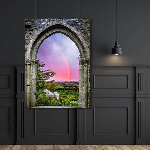 Image of Medieval Arch with White Horse and Monochrome Rainbow, Ireland Poster