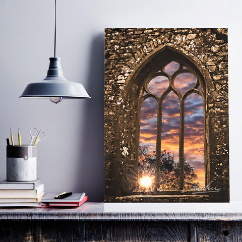 Image of Summer Sunrise at Clare Abbey, Ireland, Irish Inspirational Art Poster Moods of Ireland