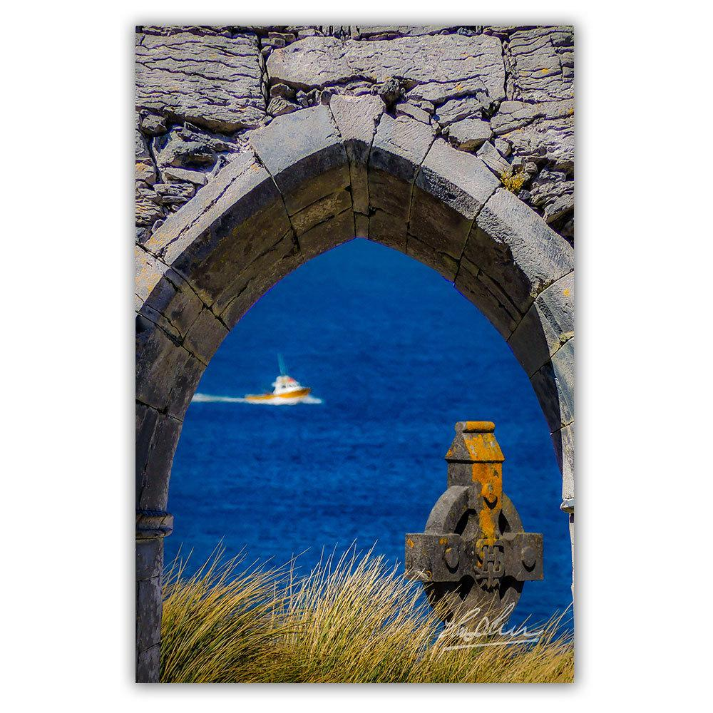 Celtic Cross and Fishing Vessel from Isle of Inisheer, Irish Poster Print
