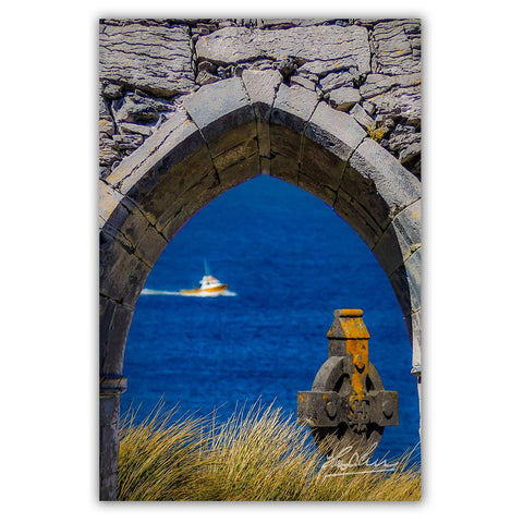Celtic Cross and Fishing Vessel from Isle of Inisheer, Irish Poster Print Poster Moods of Ireland