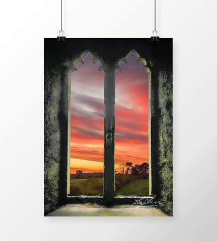 Image of Sunrise at Medieval Clare Abbey, Irish Art Poster Poster Moods of Ireland