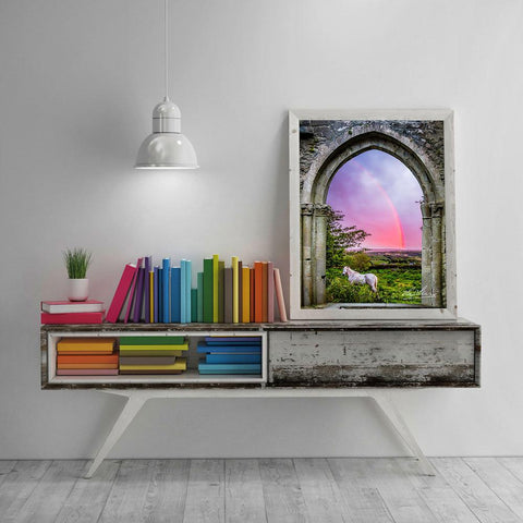 Medieval Arch with White Horse and Monochrome Rainbow, Ireland Poster Poster Moods of Ireland