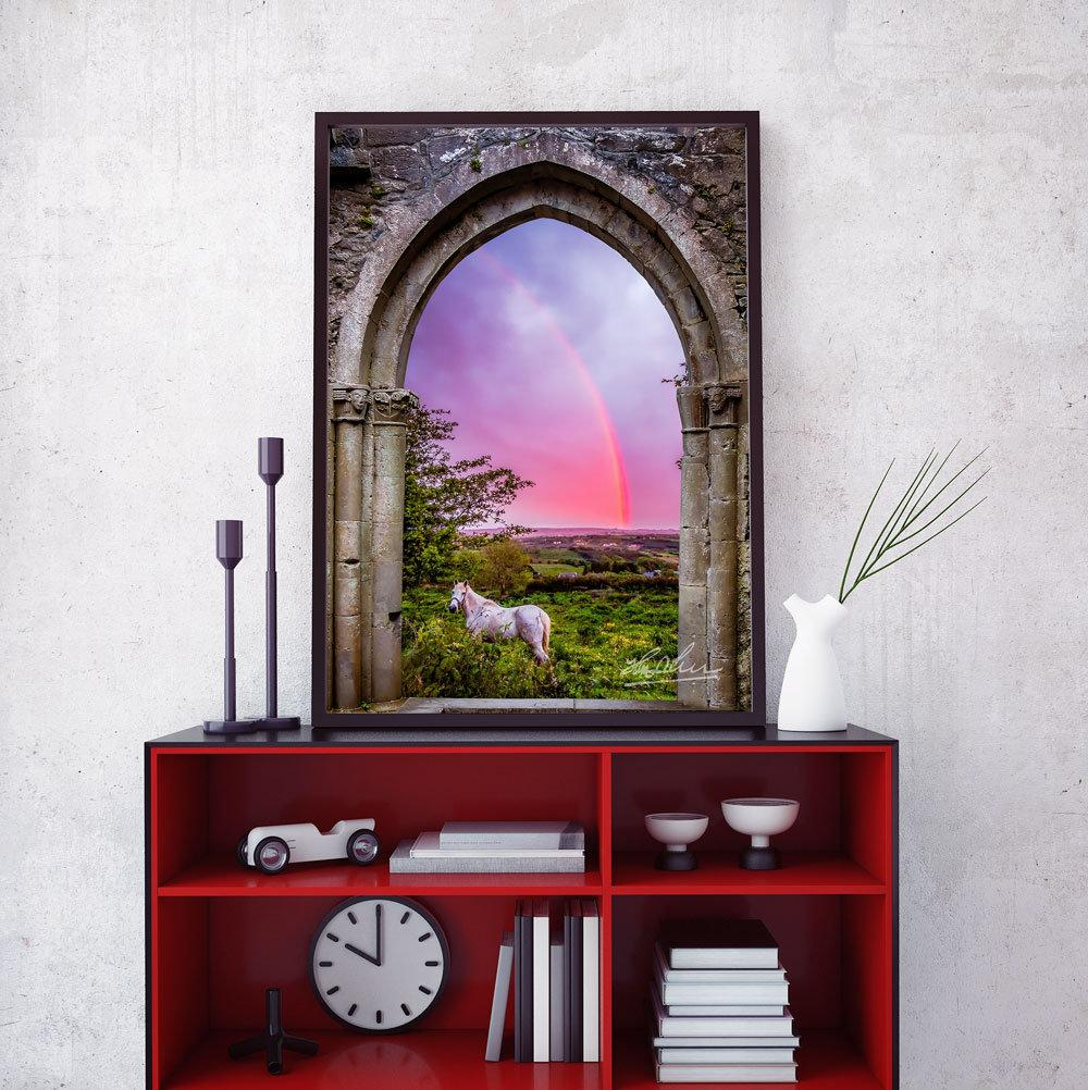 Medieval Arch with White Horse and Monochrome Rainbow, Ireland Poster