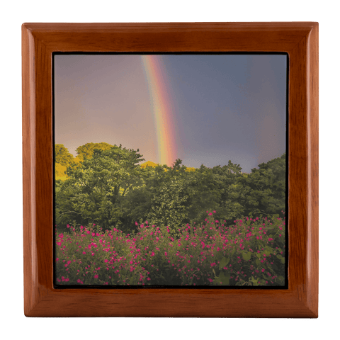 Image of Jewelry Box - Irish Rainbow and Wildflowers in County Clare Jewelry Box teelaunch Golden Oak