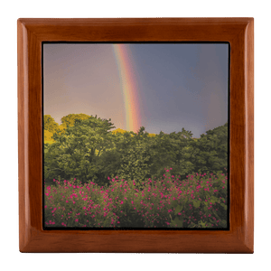 Jewelry Box - Irish Rainbow and Wildflowers in County Clare Jewelry Box teelaunch Golden Oak