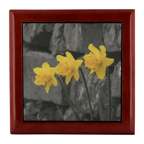 Jewelry Box - Irish Daffodils Jewelry Box teelaunch Red Mahogany