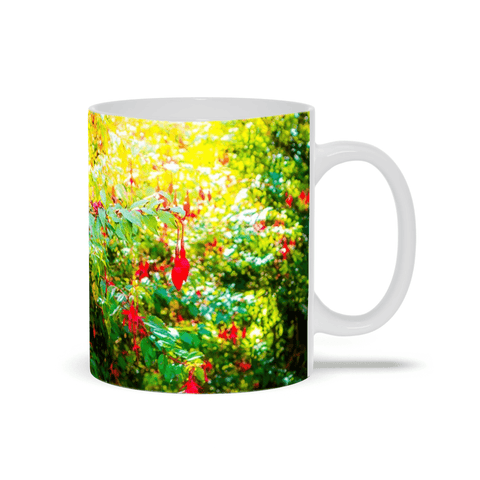 Image of Ceramic Mug - Wild Fuchsias Frollicking in the County Clare Countryside - James A. Truett - Moods of Ireland - Irish Art