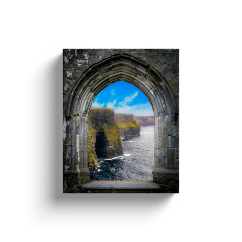 Image of Canvas Wrap - Ireland's Cliffs of Moher through Rock of Cashel Medieval Arch - James A. Truett - Moods of Ireland - Irish Art