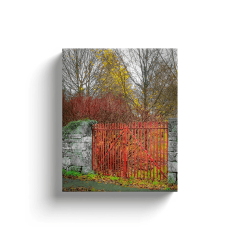 Image of Canvas Wrap - Red Gate in Autumn, County Galway Canvas Wrap Moods of Ireland 8x10 inch