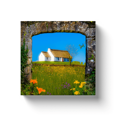Image of Canvas Wrap - Thatched Cottage on a Hill, County Clare - James A. Truett - Moods of Ireland - Irish Art