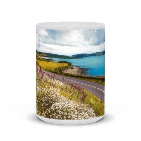 Image of Ceramic Mug - Field of blooms along Shannon Estuary, County Clare - James A. Truett - Moods of Ireland - Irish Art