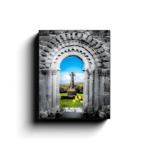 Canvas Wrap - Romanesque Doorway and High Cross at Dysert O'Dea, County Clare - James A. Truett - Moods of Ireland - Irish Art