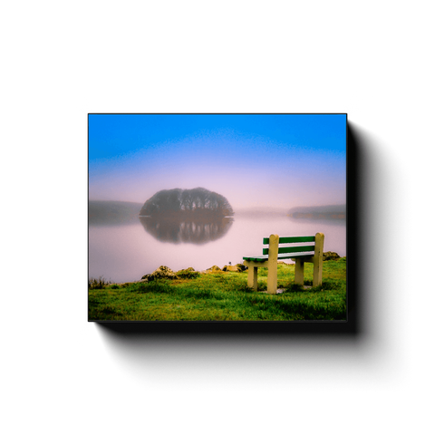 Image of Canvas Wrap - Bench at Lake Knockalough, County Clare - James A. Truett - Moods of Ireland - Irish Art