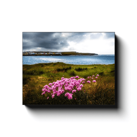 Canvas Wrap - Sea Pinks on Kilkee Bay, County Clare - James A. Truett - Moods of Ireland - Irish Art