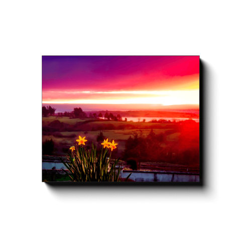 Canvas Wrap - Daffodil Sunrise in Crovraghan, County Clare, Ireland - James A. Truett - Moods of Ireland - Irish Art